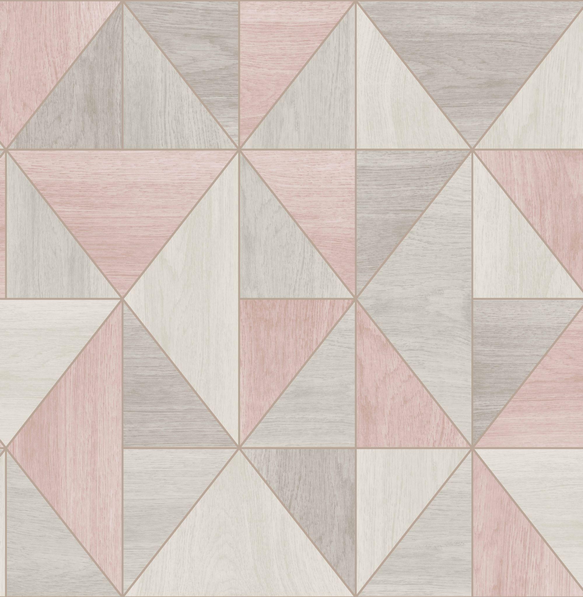 Apex Geo Wallpaper Rose Gold: Fine Decor Apex Wood Grain Rose Gold FD42224 Wallpaper